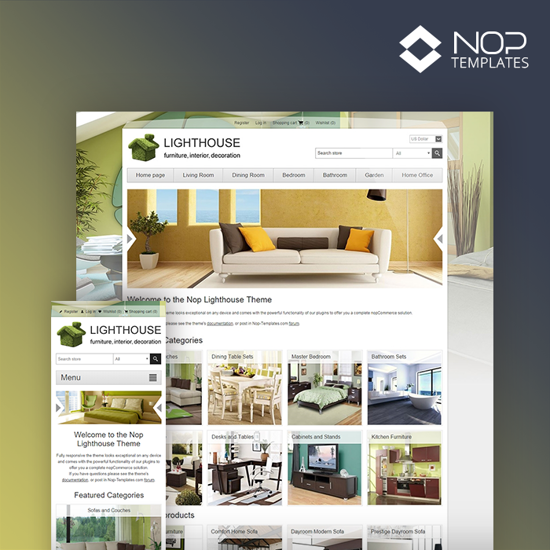Picture of Nop Lighthouse Theme + 10 Plugins (Nop-Templates)