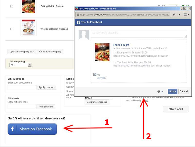 Picture of Share your cart to Facebook 2.0 (foxnetsoft.com)