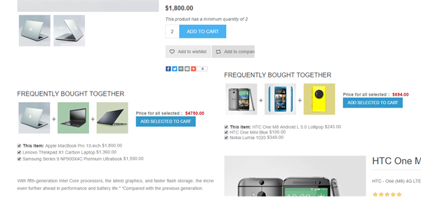 Picture of Frequently Bought Together plugin(By nopCommercePlus)