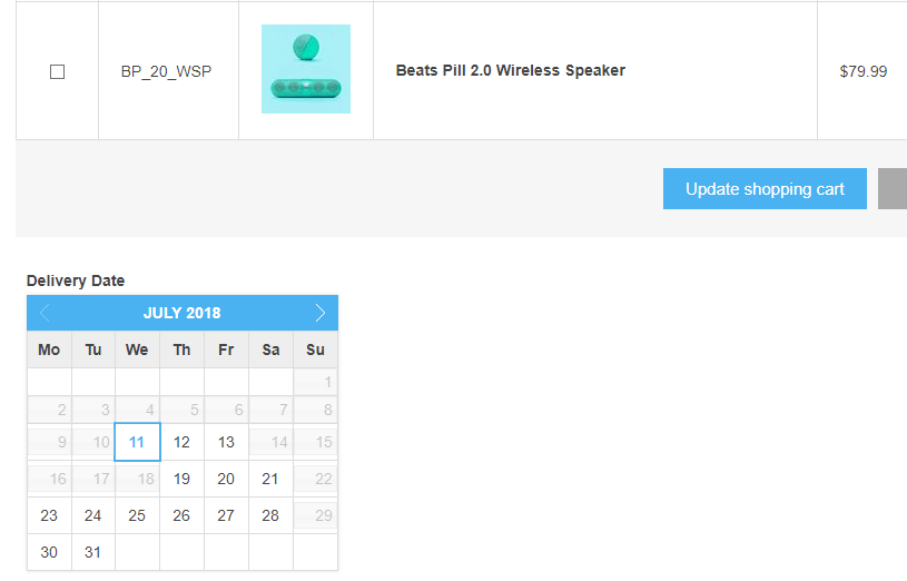 Picture of Delivery calendar (nop4you.com)