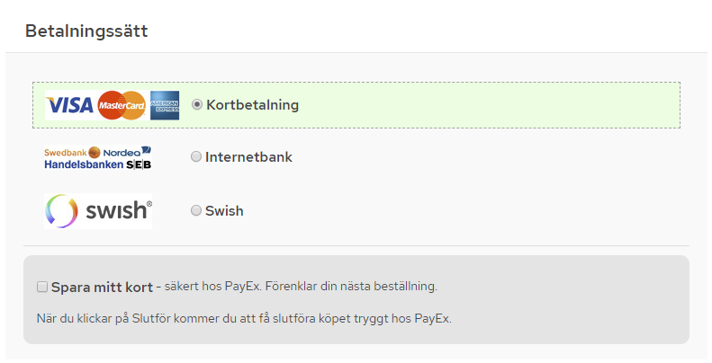 Picture of PayEx payment module with AutoPay and Swish