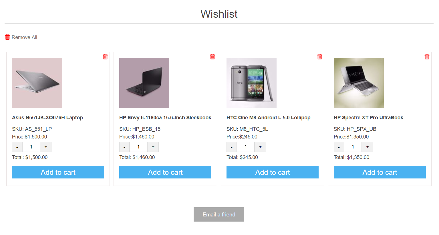 Ajax Wishlist Page (nopvalley.com) の画像