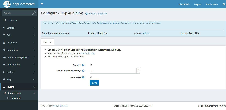 Nop Audit Log Plugin の画像