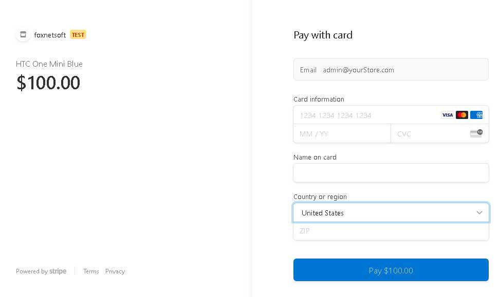 Picture of Stripe Hosted Checkout Page (foxnetsoft)
