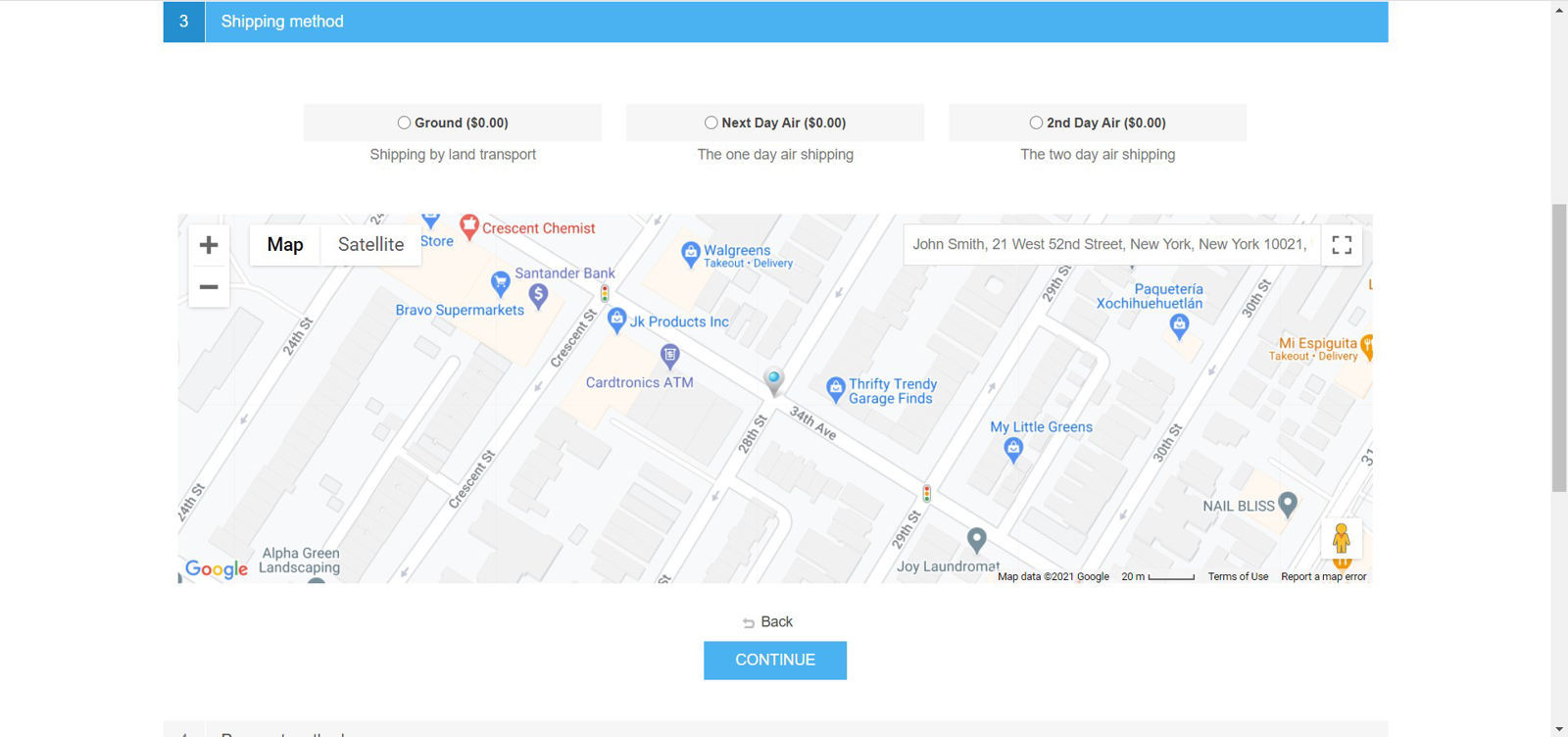 Picture of Gmaps widget to capture shipping location using maps.